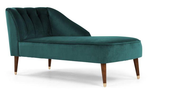 Margot, méridienne avec accoudoir à droite, velours bleu paon | made.com