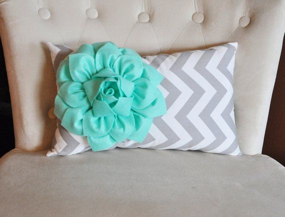 Chevron Lumbar Pillow Mint Green Dahlia on Gray $33.00