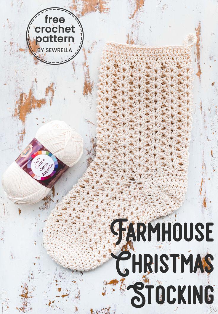Crochet Farmhouse Christmas Meia