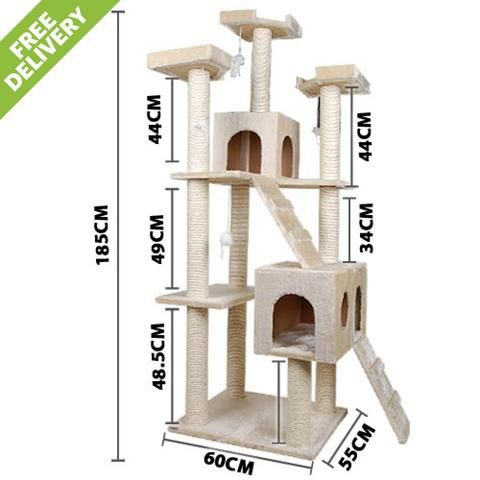 Giant Cat Scratcher Tree and Climber 185cm Tall BEIGE