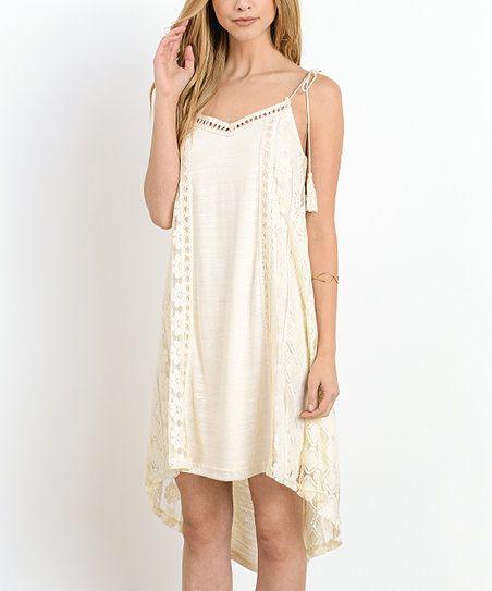 Doe & Rae Cream Lace Crochet-Trim Hi-Low Dress | zulily