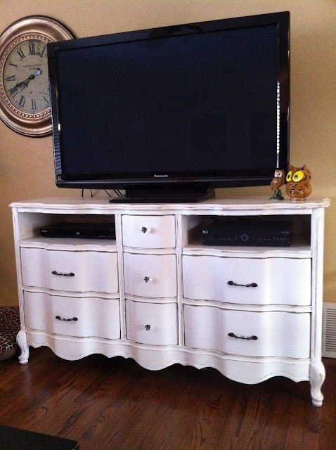 reuse old dresser for a tv stand remove some of the drawers for places for the electronics. Black Bedroom Furniture Sets. Home Design Ideas