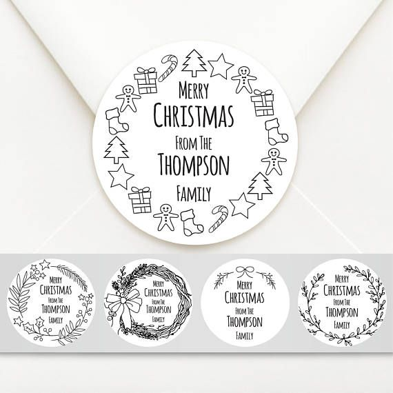 Personalised Circle Christmas Sticker Labels Choice of Kraft, Merry Christmas, Happy Holidays