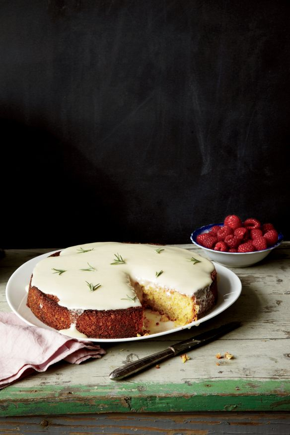 Jessica Hicks from Astro Coffee,  Detroit, makes her tender lemon, rosemary almond cake with skin-on ground almonds  and smooth creme fraiche icing, for Food and Wine Magazine