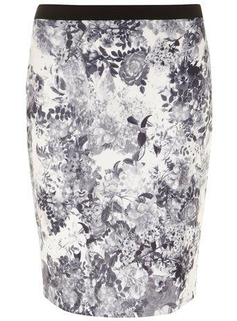 Petite Grey Floral Skirt