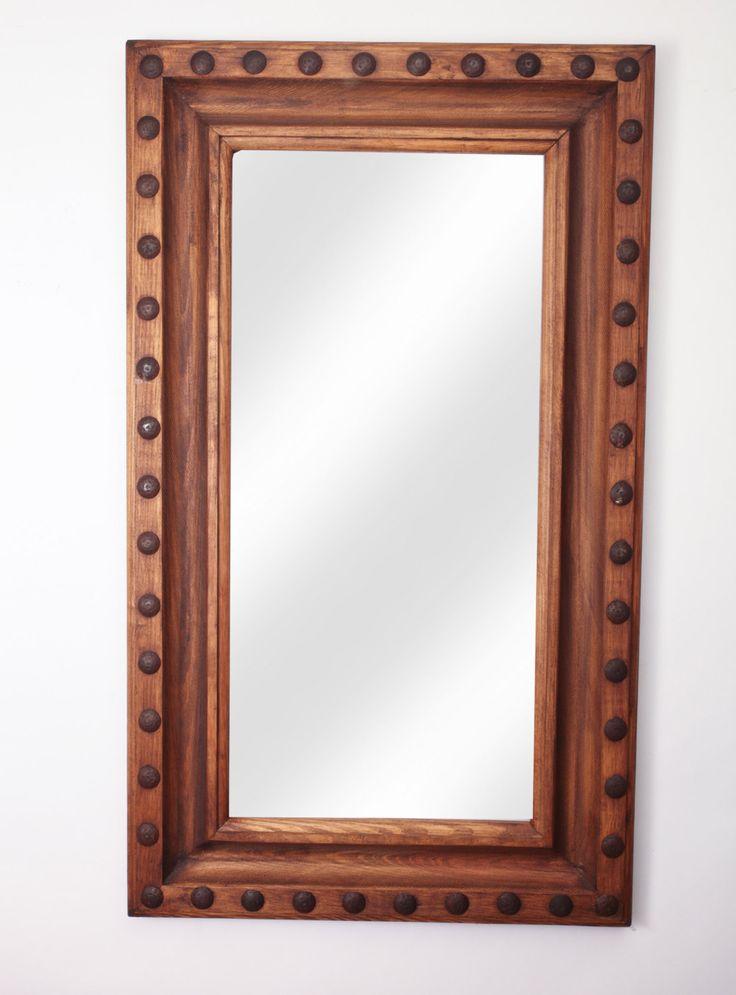 Rustic Hacienda Mirror-30x36 inches-Western Wall Handmade Mirror-Spanish-Lodge-Custom-Clavos by RanchoAdobe on Etsy