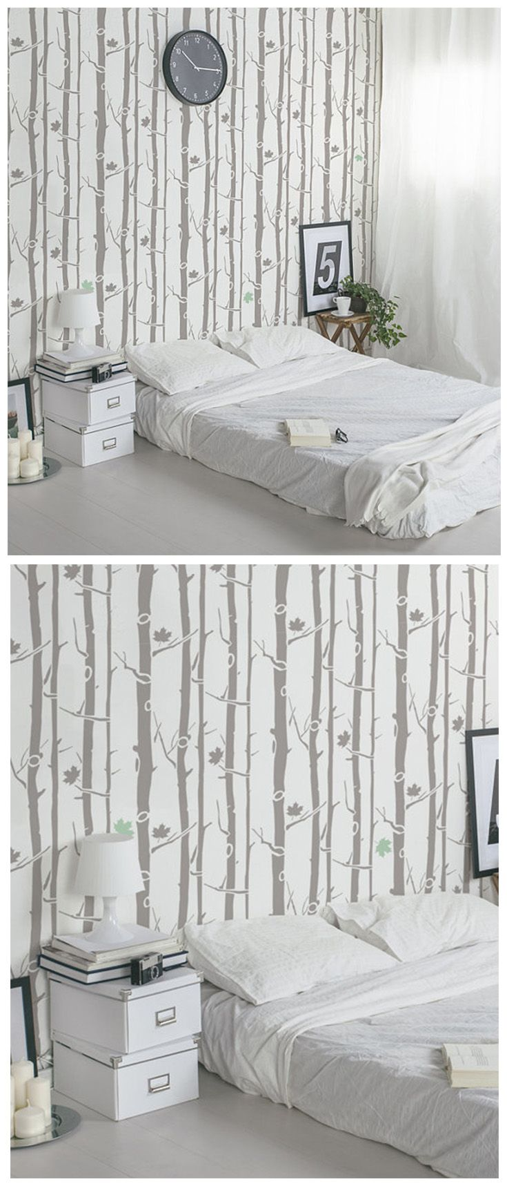 94 best wall stencils images on pinterest nurseries cozy and do you inspired from nature bring this forest look into your home using just one wall stencil so easy and so big change in you room decor amipublicfo Images