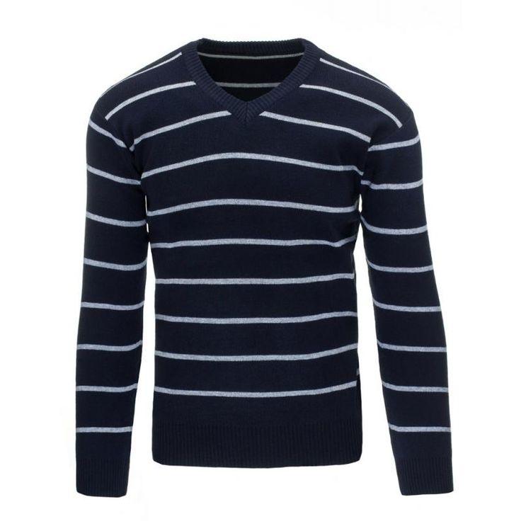 Pánský pruhovaný svetr do v modrý