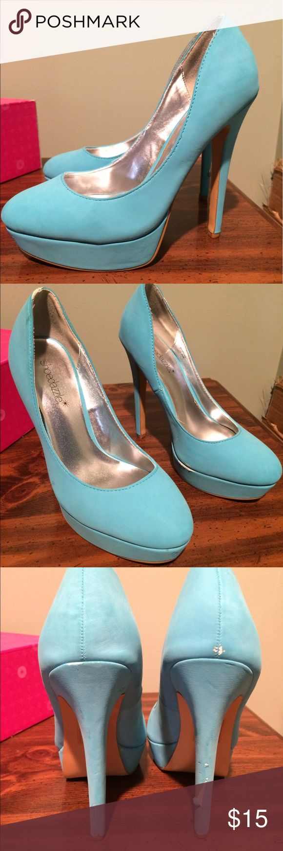 Shoe Dazzle blue heels Close to Tiffany blue in color, platform heels from Shoe Dazzle. Worn a handful of times, couple of scuffs on heels as shown! Shoe Dazzle Shoes Heels