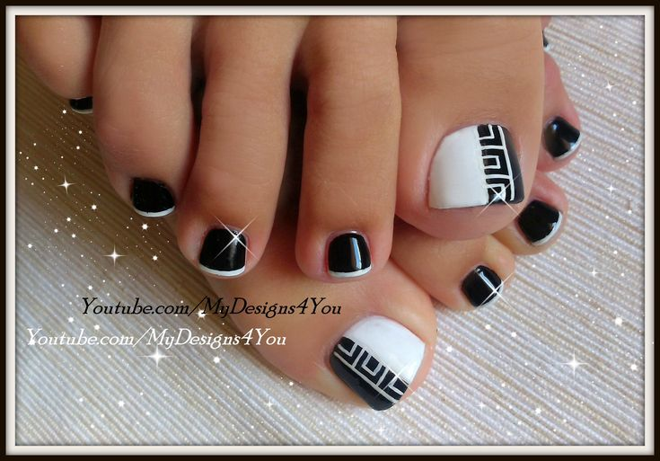 Greek Style Toenail Art | Monochrome Pedicure ♥ Педикюр в Греческом Стиле Shop: http://go.magik.ly/ml/2d7n/