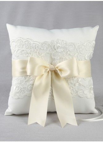 Chantilly Lace Ring Pillow - White or Ivory