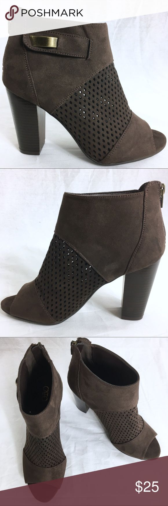 CATO Brown Suede Material Laser-Cut Shooties 7.5M These booties (shooters) are new without the box.  There are in GREAT condition.  The heel measures 4 inches. Cato Shoes Ankle Boots & Booties