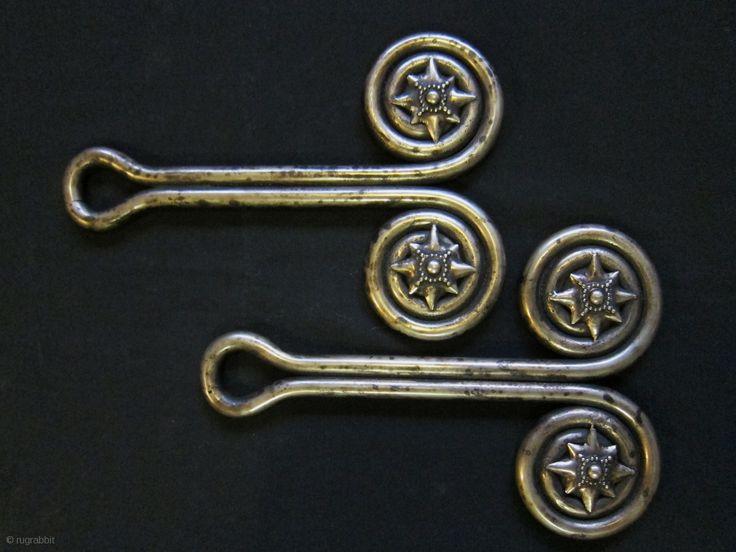 """Indonesia - """"Padung-Padung"""" solid cast ear ornaments, silver alloy.  Karo Batak People, North Sumatra."""