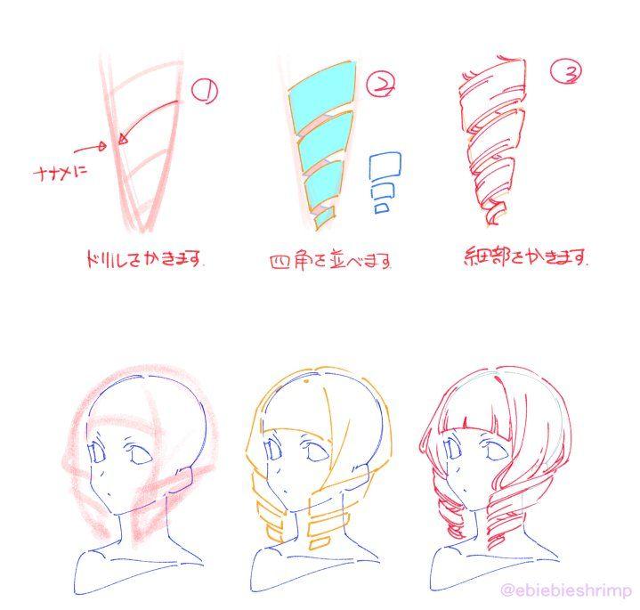 朱里 Shuri On Twitter ヘアスタイルのスケッチ アニメデッサンチュートリアル 描き方