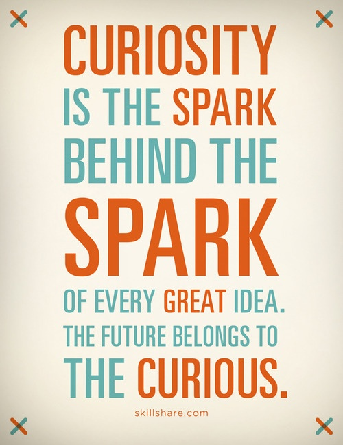 Curiosity is the spark behind the spark of every great idea. The future belongs to the curious #quoteFuture Belong, Inspiration, Business Quotes, Motivation, Wisdom, Sparkly Fly, Typography, Living, Curious George