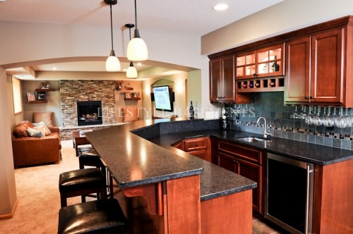 Cherry Cabinets; Dark Granite Double-tier Countertop