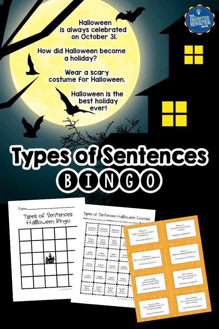 Halloween Bingo Types of Sentences Halloween bingo