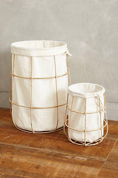 Framed Canvas Bins - anthropologie.com SUPER cute laundry bins