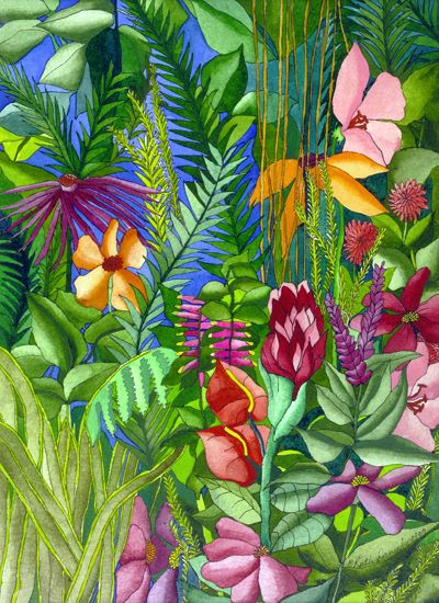 Looking Into the Garden - Exotic Flowers and Greenery in the Caribbean