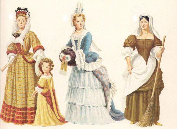 17th century ~ da sinistra a destra: abito di moda verso la metà degli anni '80 con acconciatura alla Fontanges (l'abito della bambina copia quello della madre e presenta sul dorso le caratteristiche dande); abito tipico degli anni '90, con acconciatura alla Fontanges e manicotto; costume delle donne del popolo.