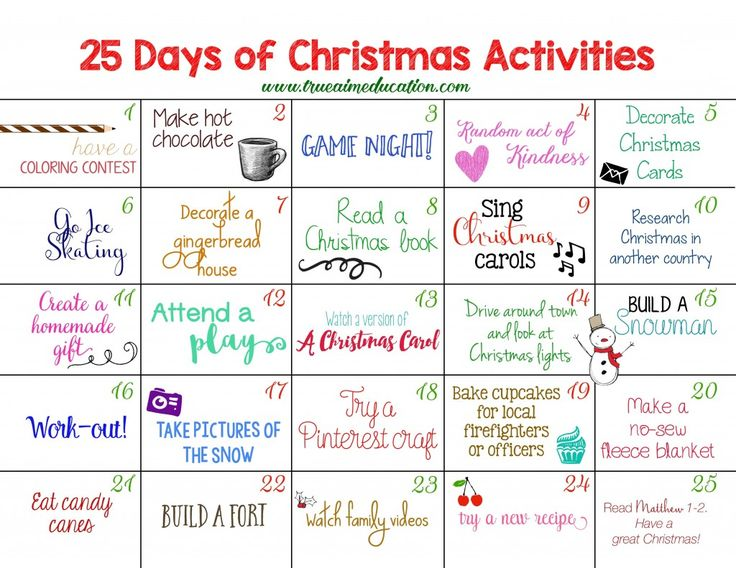 25 Days of Christmas Activities FREE printable advent calendar