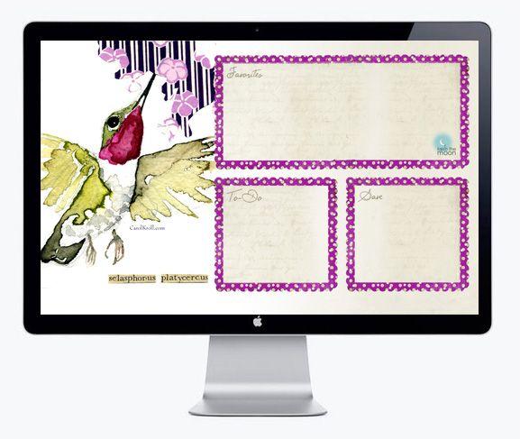 Spring Desktop Organizer: Hummingbird Watercolor (FREEBIE DOWNLOAD)