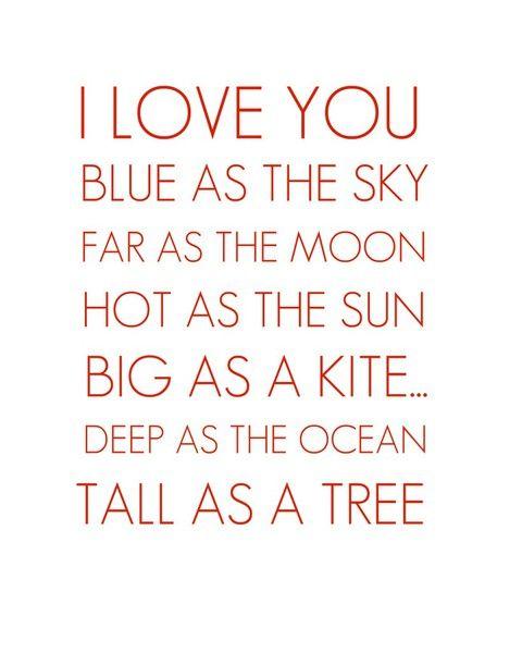 "Wedding day saying - ""I love you blue as the sky, far as the moon, hot as the sun, big as a kite, deep as the ocean, tall as a tree."""