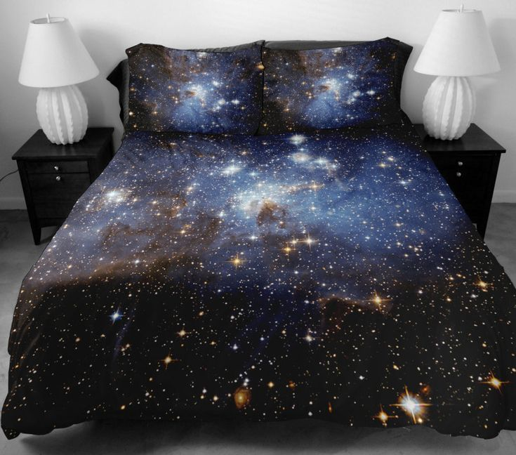 Galaxy bedding set two sides printing galaxy twin quilt cover galaxy bed sheets with two matching galaxy pillow covers by Tbedding on Etsy