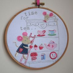 Time For Tea - Mice afternoon tea applique embroidery hoop art
