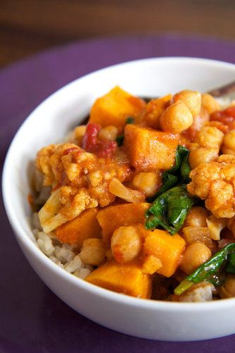 After one bite of this chickpea and sweet potato curry with coconut rice, you will be sold. Each serving is about 400 calories, and because this recipe serves six, you can impress your friends with this bold yet easy-to-make dish or save the rest for tomorrow's lunch.  Total Calories: 397 Photo: Jenny Sugar