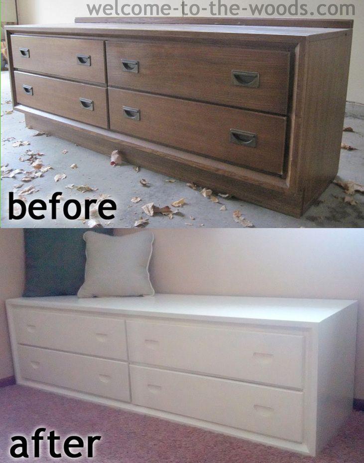Dresser To Bench Makeover