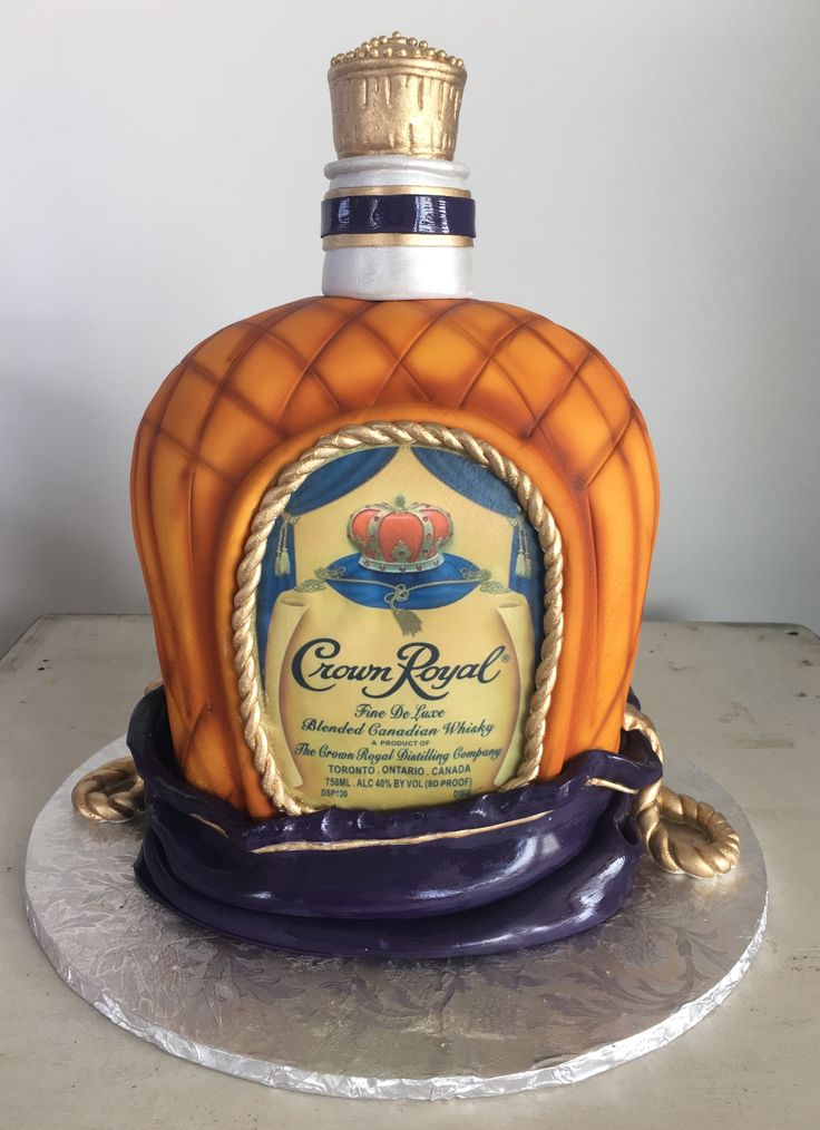 Have Your Cake And Drink It Too! Carved Crown Royal Bottle Grooms Cake  Sugar Bee Sweets Bakery  www.sugarbeesweets.com