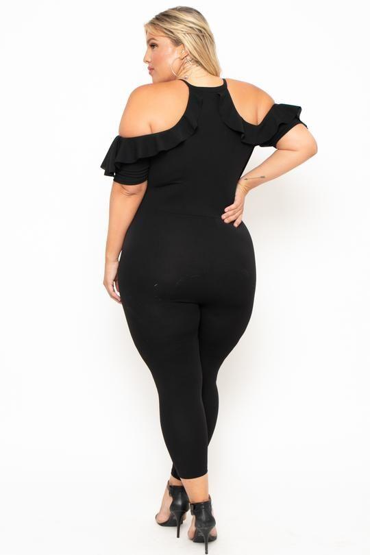fea39d226a9 Plus Size Cold Shoulder Ruffle Jumpsuit- Black in 2019