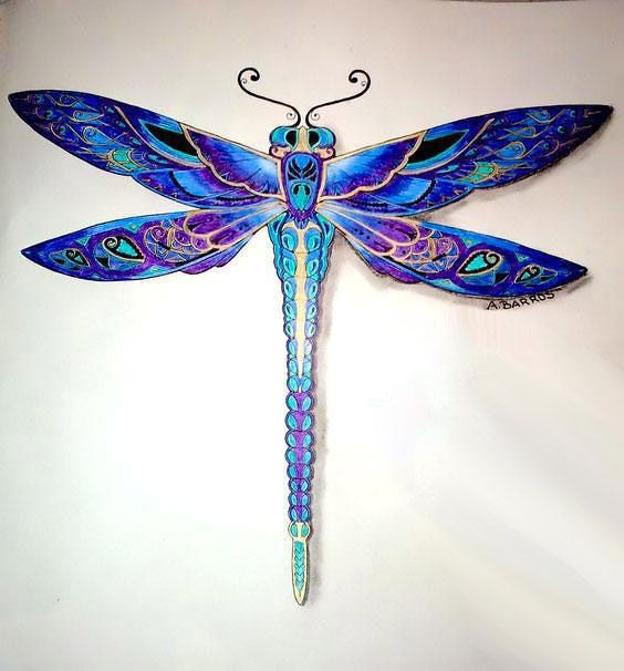 Best Blue Dragonfly Tattoo Design (With images ...