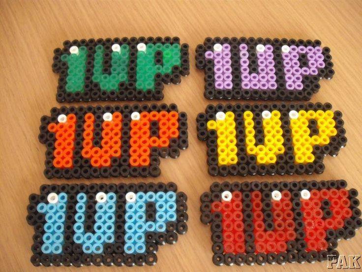 1UP Fridge Magnets and Brooches/Badges.Nintendo Super Mario Brothers World Hama