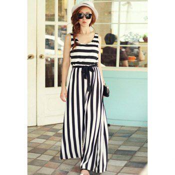 Modern style scoop neck elastic in waist stripe pattern sleeveless