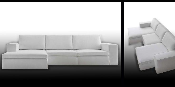 divano 3 posti con penisola e sedute scorrevoli