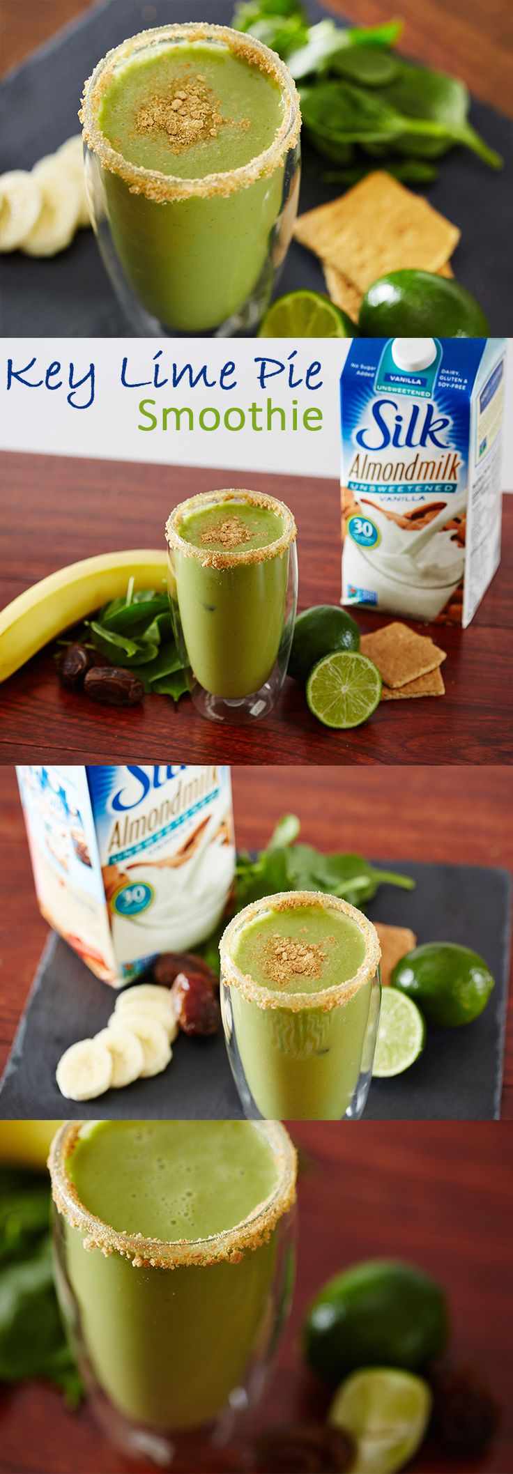 This Key Lime Pie Smoothie makes for a scrumptious dessert and is as delicious as it is good for you! Combine all ingredients, except the graham crackers, in a blender and process until smooth. Then pour into a glass and top with crushed graham crackers!