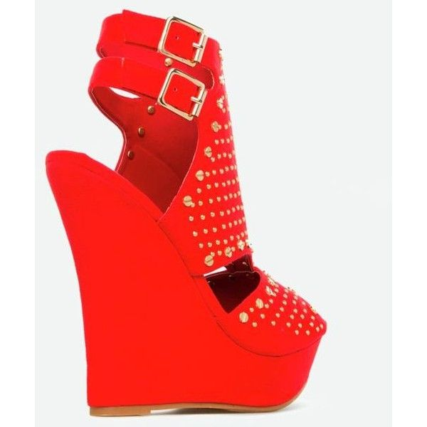 Justfab Wedges Krisna (880 MXN) ❤ liked on Polyvore featuring shoes, red, red wedge shoes, high heeled footwear, wedge shoes, platform wedge shoes and red wedge heel shoes