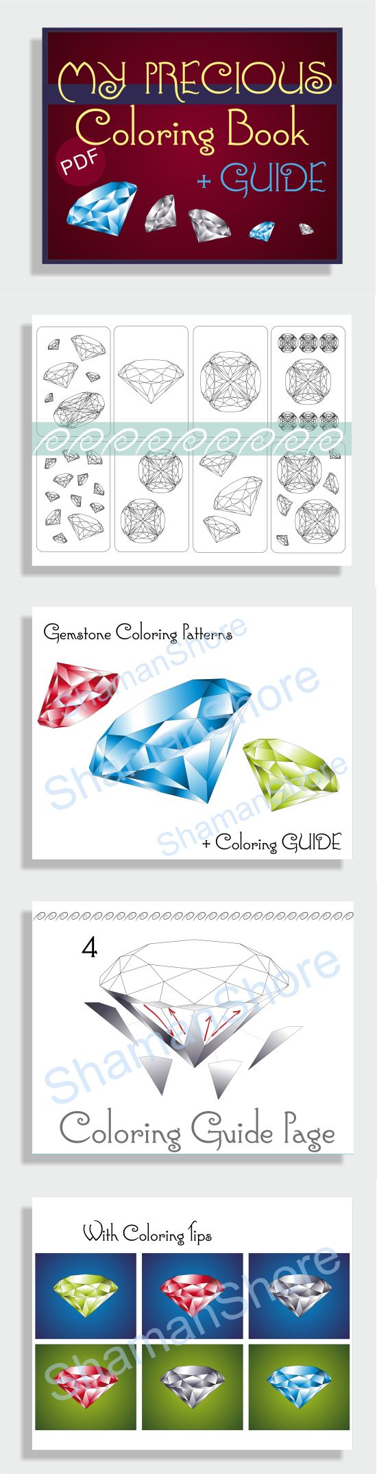 Gemstone coloring pages for grown-ups & gemstone coloring guide. Adult coloring book, pdf. With diamond drawing tutorial.