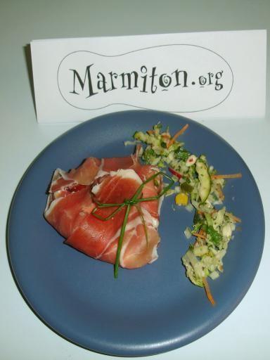 Aumonière de chèvre et jambon italien : Recette d'Aumonière de chèvre et jambon italien - Marmiton