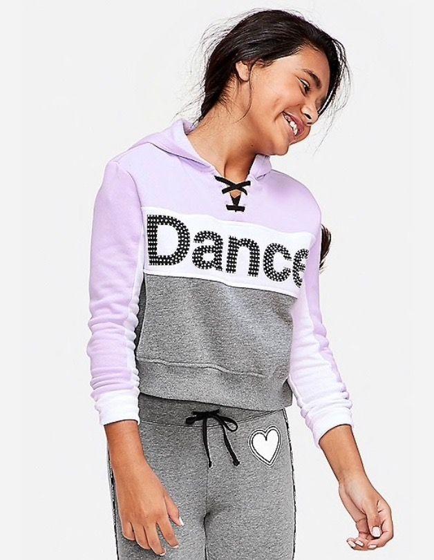 Dance Stud Lace Up Crop Hoodie Justice Clothing Dance Crop Tops Tween Outfits