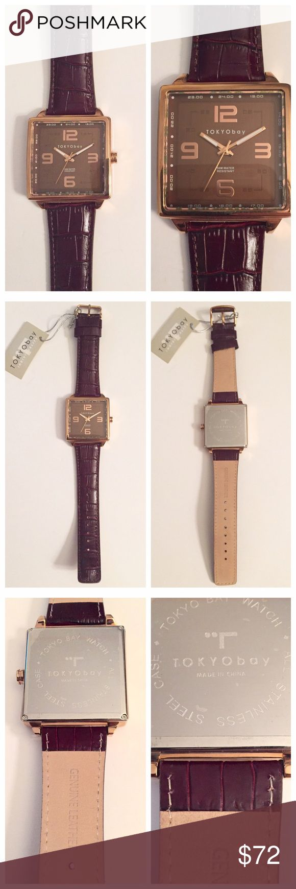 """NWT Tokyo Bay Men's Leather watch, $160 Retail Tokyo Bay Men's Watch, NWT, Leather, Analog, Quartz (battery), Needs new battery otherwise giftable condition. Face is 1.75"""" x 1.75"""". Total length is 10"""". Retails for $160 Tokyo Bay Accessories Watches"""