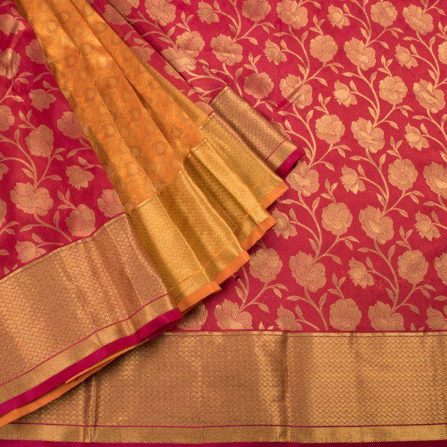 Tamarillo Red Handwoven Monochrome Kanchipuram Partly Pallu Silk Saree with Floral & Paisley/Mango Motifs & Zari Border 10002474 - AVISHYA.COM