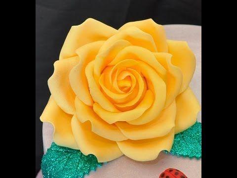 Tutorial rose in pasta di zucchero ,TUTORIAL Simple Petal Rose Gumpaste Fondant for Cake