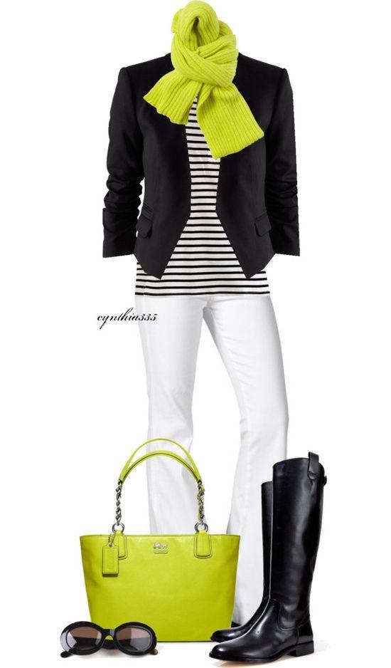 BLACK D&B BAG - White Long Pant, Black Jacket, Black & White Horizontal Stripes Blouse, Lime Green Scarf, Bling Bangle, Black & Silver Snail Ring, Bling Watch, Cubic Earrings, Black Heel Shoes.