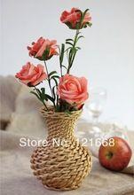 Оптовая плетеная из ивы ваза для цветов корзина украшение M 9xH16.5cm без цветка(China (Mainland))