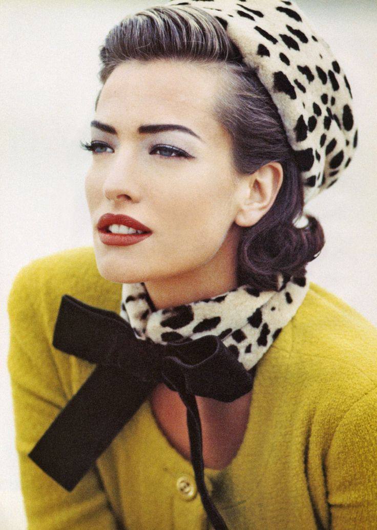 Dalmation print and a velvet bow. Tatjana Patitz, vintage Vogue.