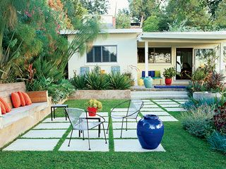 Pavers staggered into a patio and path