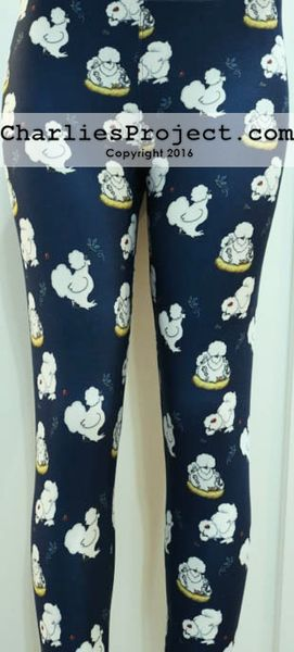 Silkies Chickens on Navy background leggings.  Like Lularoe with the yoga waist band, buttery soft fabric, and limited prints but no searching! They are all here! Charlie's Project adult and kid leggings.
